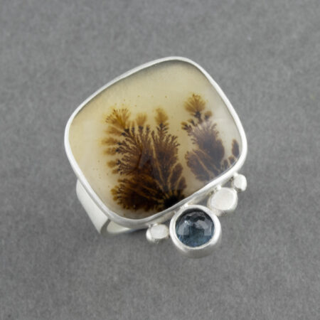 Handmade dendritic agate with aquamarine in sterling silver