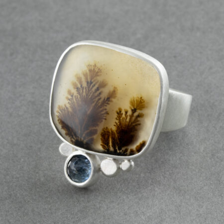Dendritic agate with aquamarine in recycled sterling silver