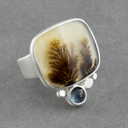 Dendritic agate with aquamarine in brushed sterling silver