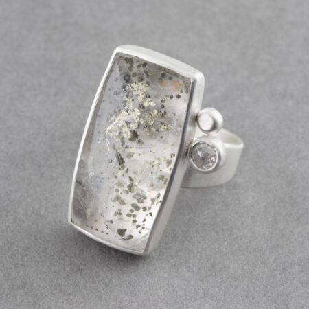 Pyrite in quartz ring with white diamond in sterling silver, UK size R
