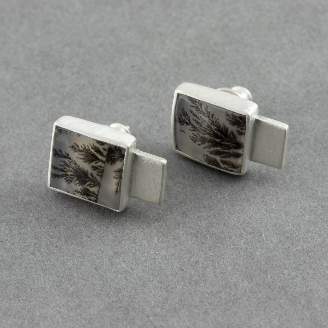 Dendritic agate stud earrings in brushed recycled sterling silver