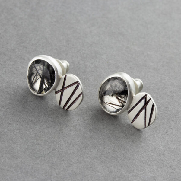 Tourmalinated quartz stud earrings in brushed recycled sterling silver