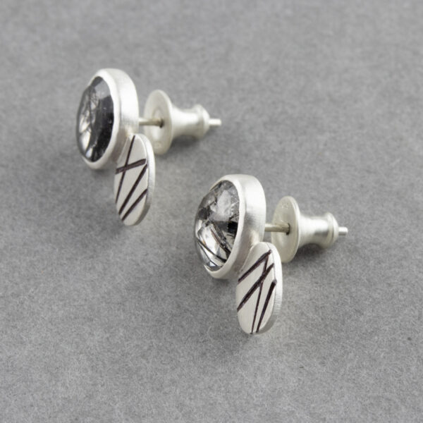 Tourmalinated quartz stud earrings in sterling silver