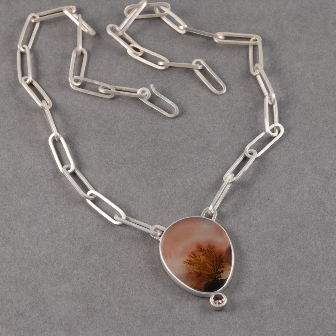 Dendritic agate and zircon necklace with handmade chain in brushed recycled sterling silver