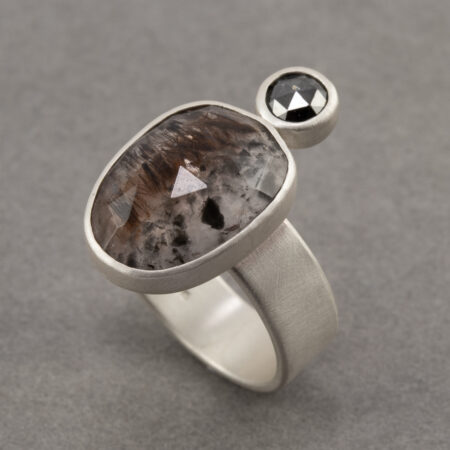 Cocaxenite and black diamond ring in recycled brushed sterling silver