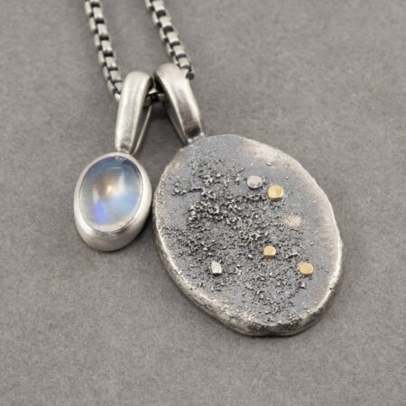 Rainbow Moonstone pendant with recycled textured sterling silver pendant