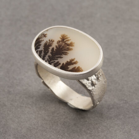 Dendritic agate ring in textured sterling silver