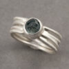 Recycled sterling silver ring with blue Montana sapphire