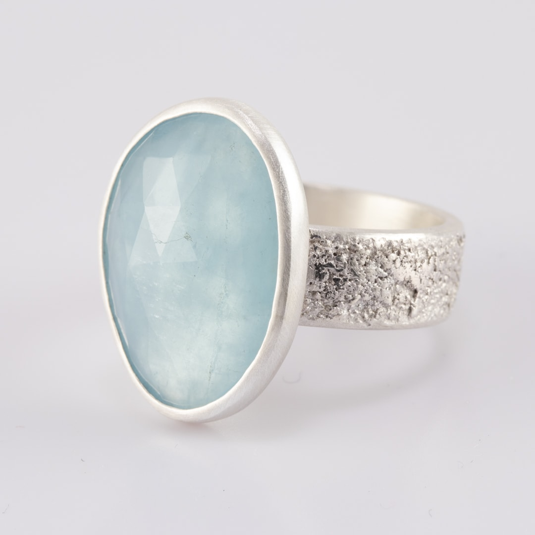 Aquamarine ring in brushed textured sterling silver