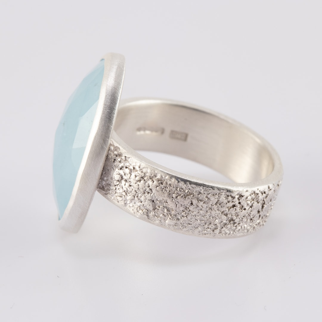 Side view of handmade aquamarine ring