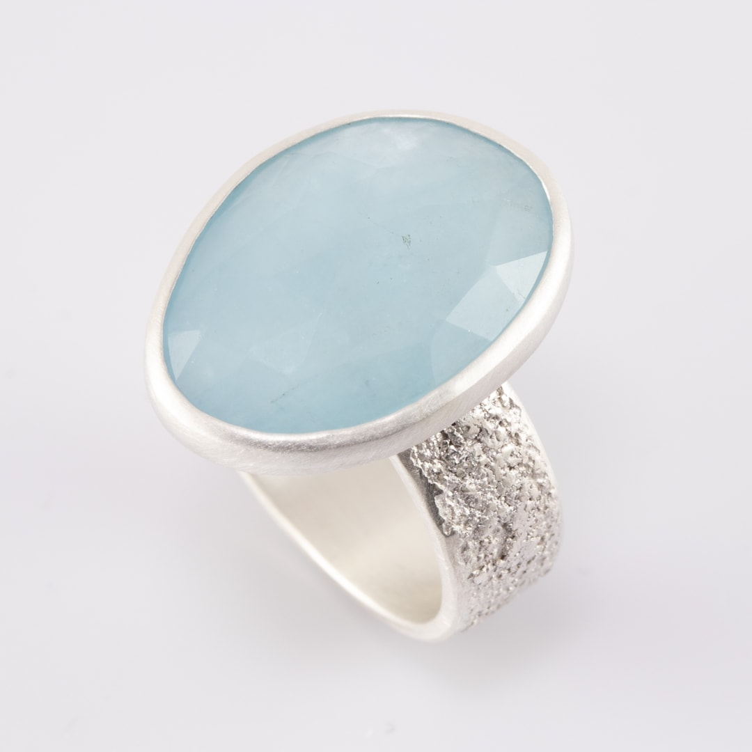 Baby blue aquamarine ring in sterling silver