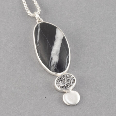 Beach pebble and druzy pendant in frosted recycled sterling silver