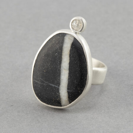 Beach pebble and white rose cut diamond ring in brushed recycled sterling silver