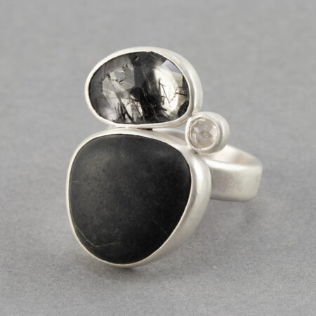 Beach pebble, tourmalinated quartz and diamond ring in recycled sterling silver