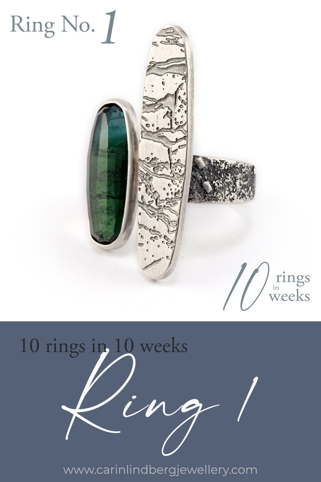 10 rings in 10 weeks: Ring 1 Blue green tourmaline and slate patterned statement ring