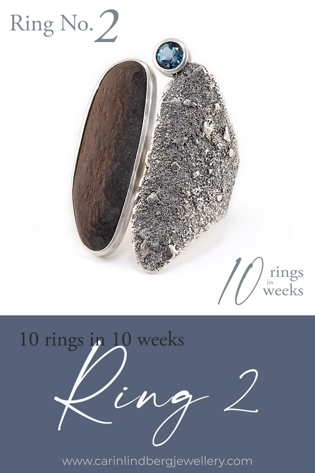 10 rings in 10 weeks: Ring , beach stone with London blue topaz on textured statement ring style