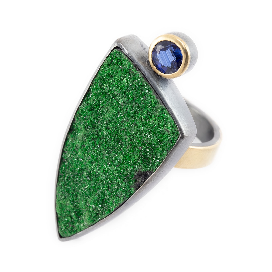 Uvarovite and kyanite ring in recycled sterling silver and 18ct gold