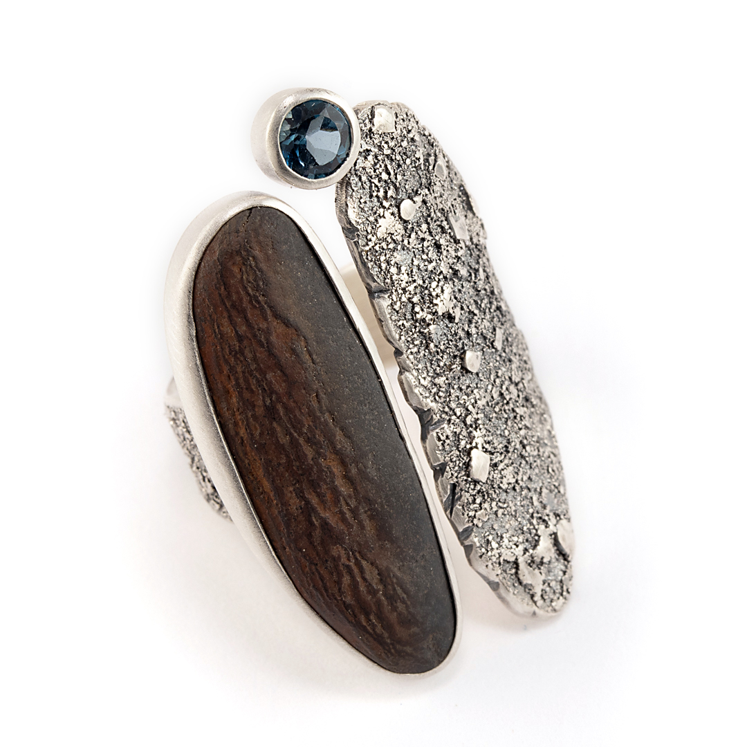 Beach pebble and London blue topaz statement ring in textured sterling silver with patina