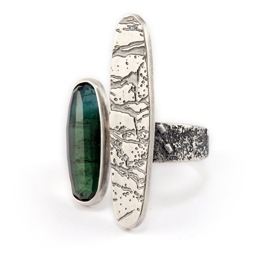 One of a kind blue-green tourmaline ring with slate pattern in oxidised recycled sterling silver