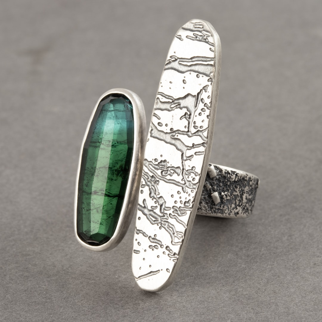Shaded blue-green tourmaline ring with slate pattern in oxidised recycled sterling silver