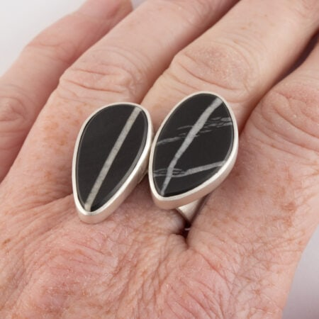 Double beach pebble rings in recycled brushed sterling silver