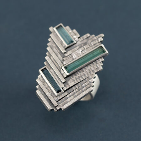 One of a kind tourmaline and sterling silver ring