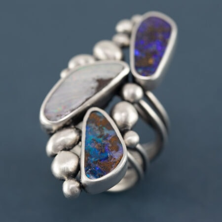 Boulder opal ring in recycled sterling silver