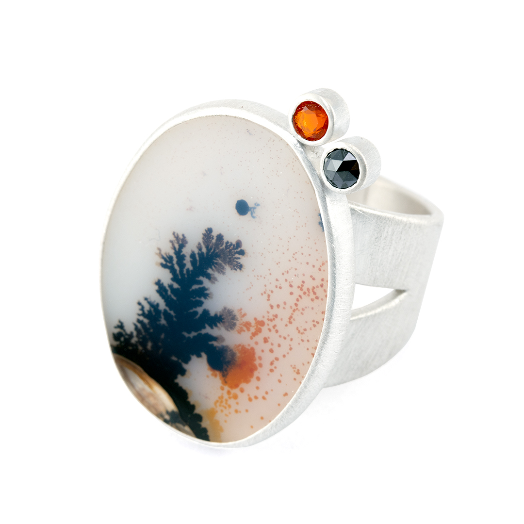Recycled sterling silver ring with dendritic agate, fire opal and black diamond