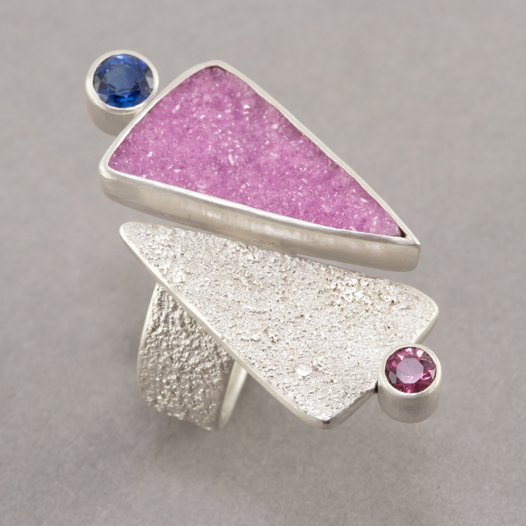 Cobalt calcite ring in textured sterling silver with tourmaline and kyanite