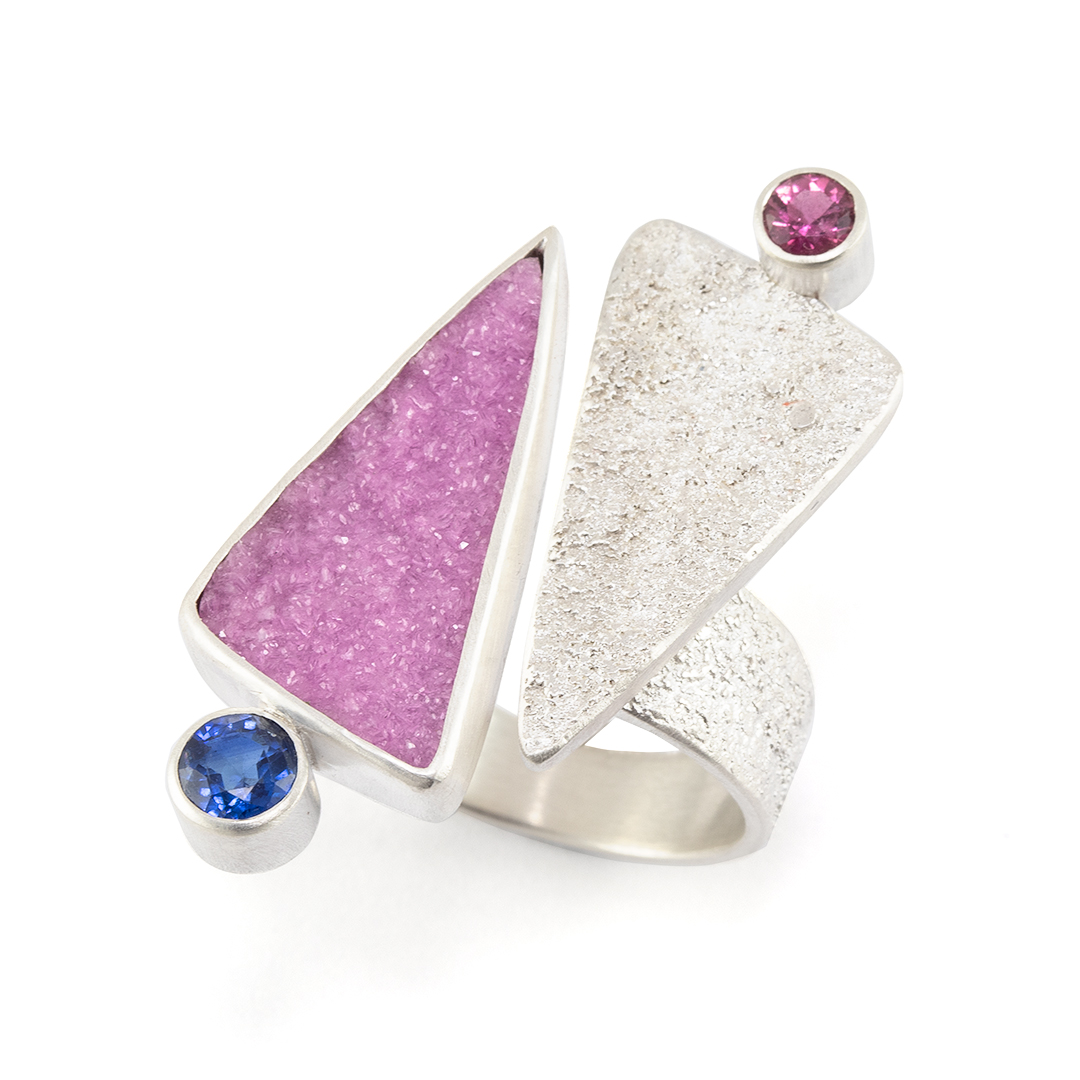 Cobalt calcite and textured sterling silver ring with tourmaline and kyanite