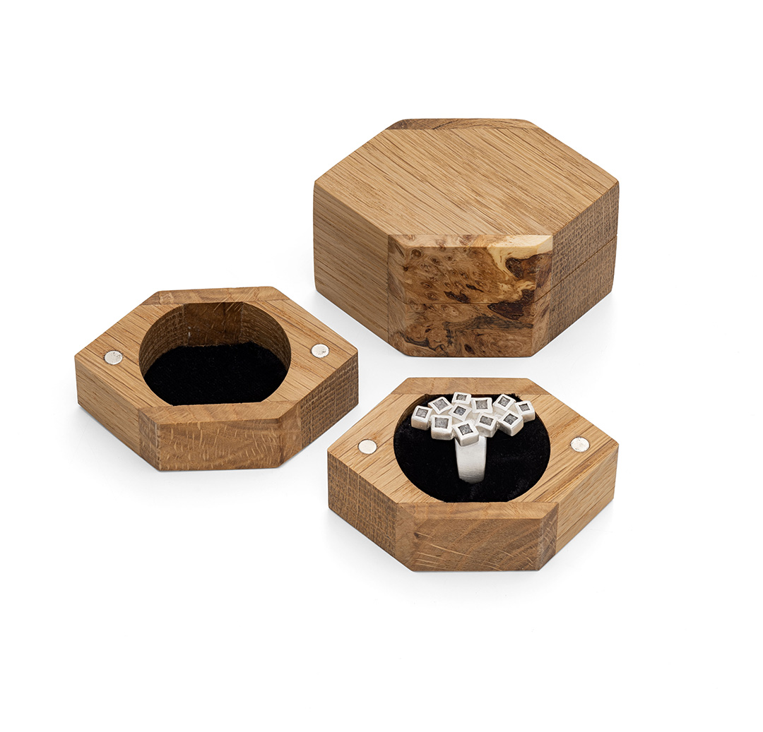 Handmade oak boxes for one of a kind rings