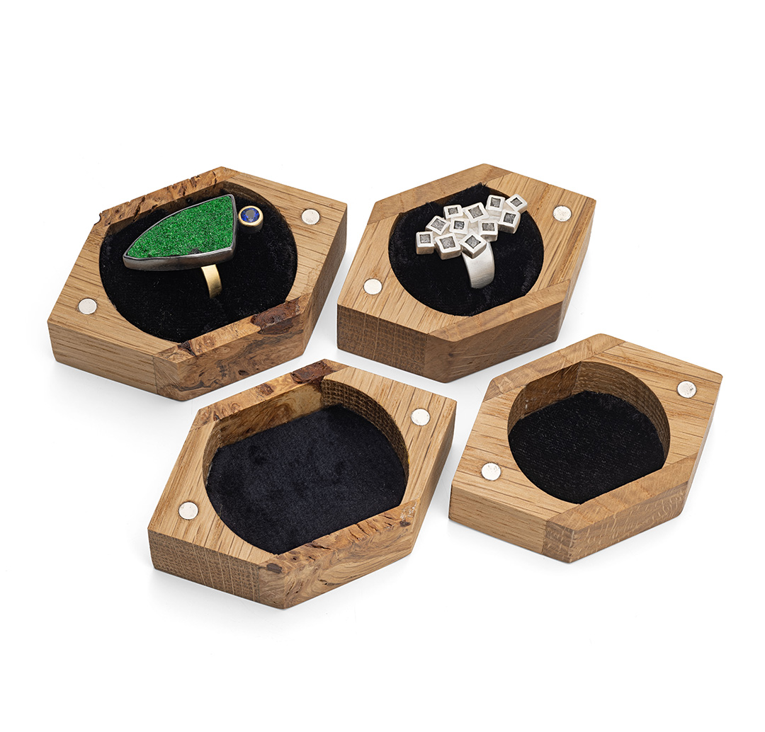 Gift ring boxes handmade from recycled oak