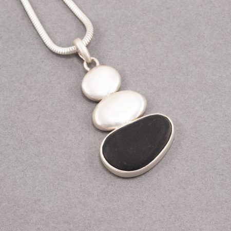 Beach pebble pendant in recycled sterling silver