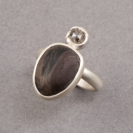 Beach pebble and grey diamond ring in brushed silver