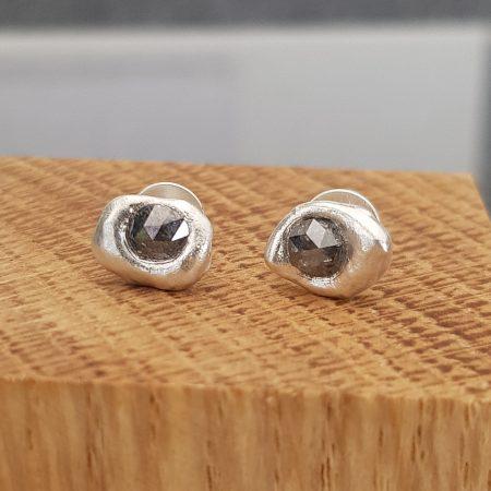Grey rose cut diamond stud earrings in brushed recycled sterling silver
