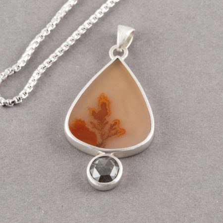 Dendritic agate pendant with black diamond set in brushed sterling silver