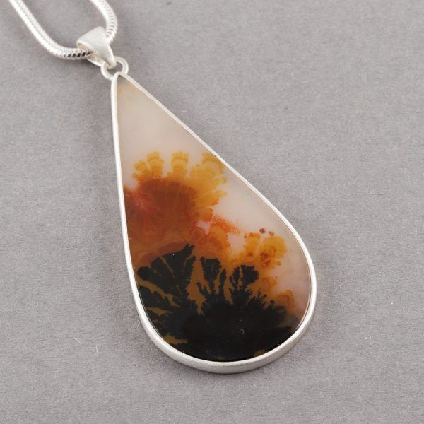 Dendritic agate pendant in brushed sterling silver
