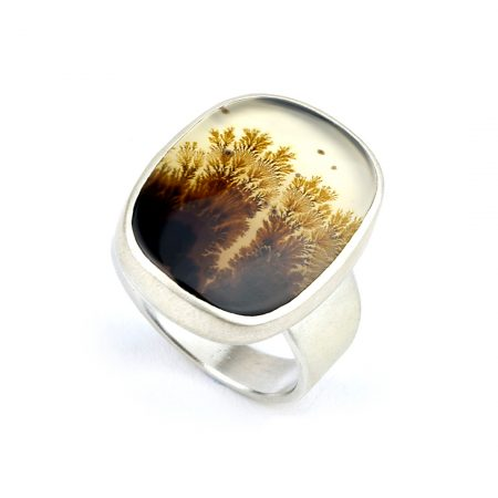 Dendritic agate ring in brushed silver