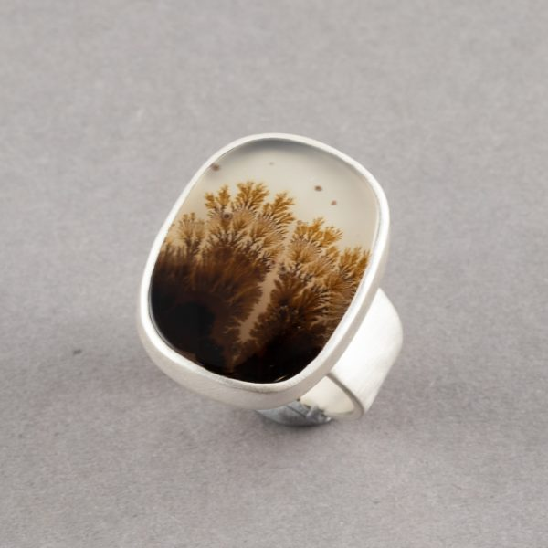 One off Dendritic agate ring in brushed silver