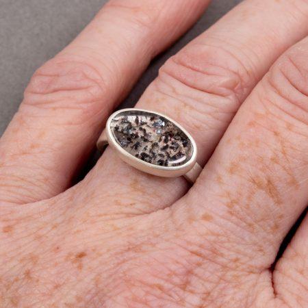 Lepidocrosite ring worn on hand