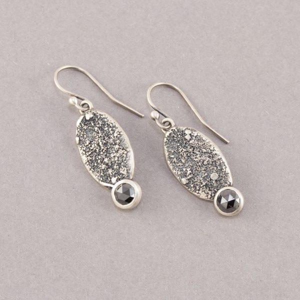 Black diamond earrings in textured sterling silver