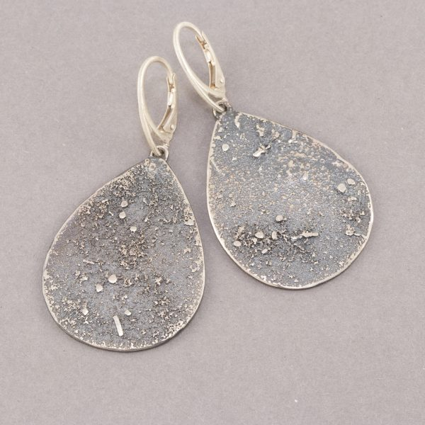 Large textured silver drop earrings with lever back fittings
