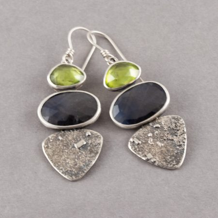 Sapphire drop earrings with peridot in textured sterling silver