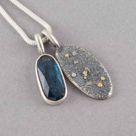 Kyanite duo pendant in textured sterling silver with gold accent