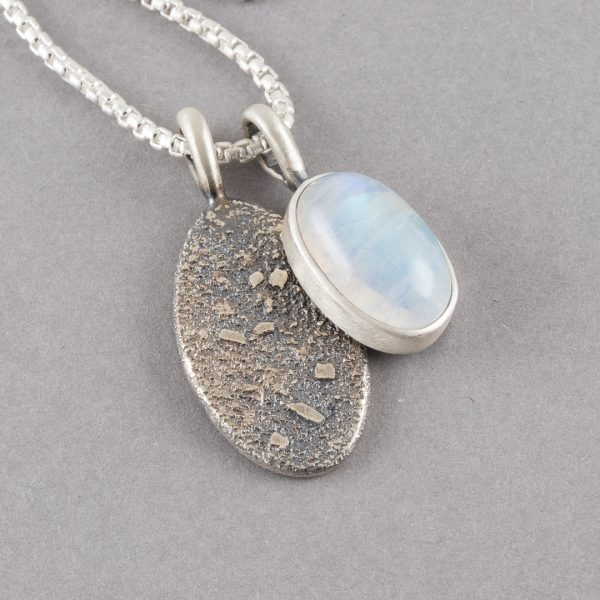 Rainbow Moonstone duo pendant in textured sterling silver