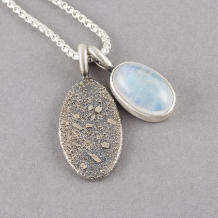 Moonstone pendant in recycled sterling silver