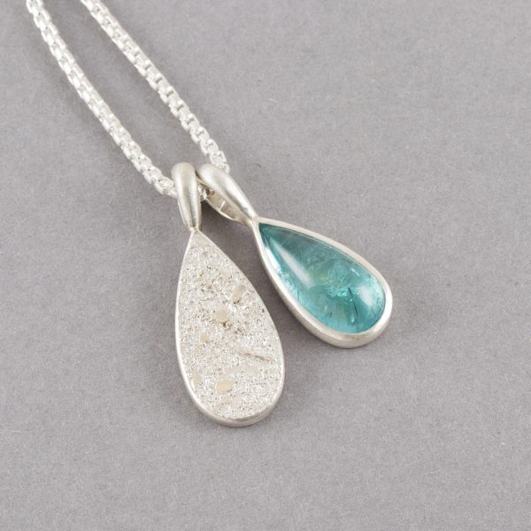 Paraiba blue tourmaline pendant duo in textured sterling silver