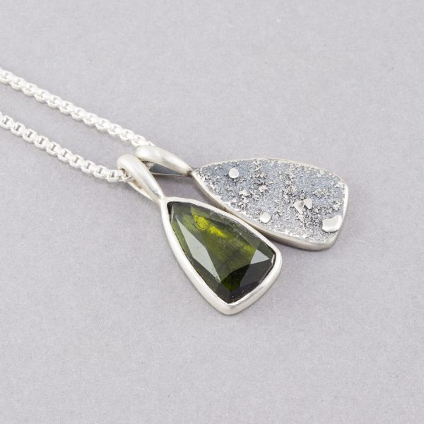 Olive green tourmaline pendant duo in recycled sterling silver