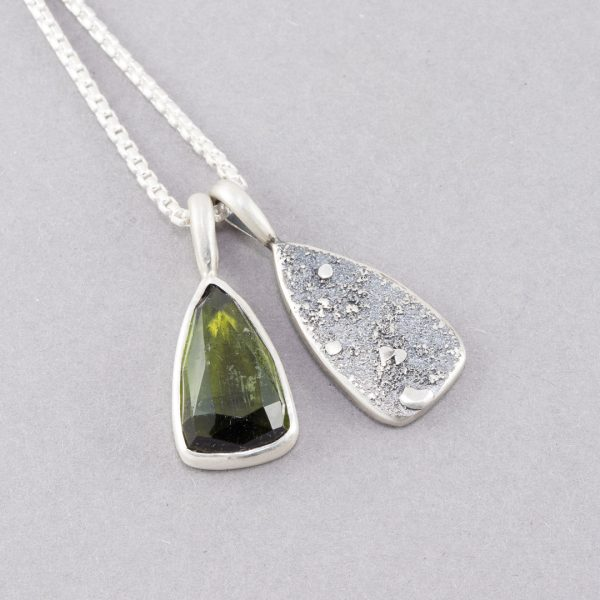 Olive green tourmaline pendant duo in textured sterling silver
