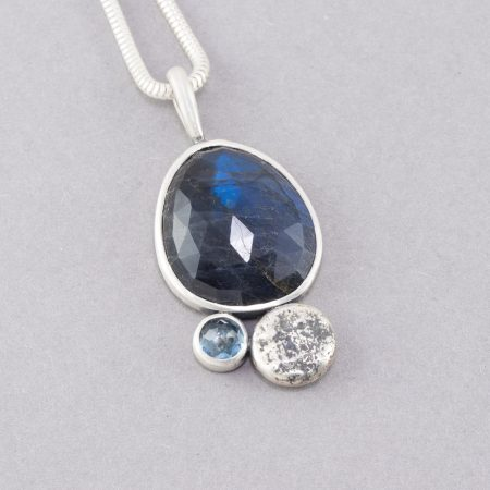 Labradorite and aquamarine pendant in sterling silver